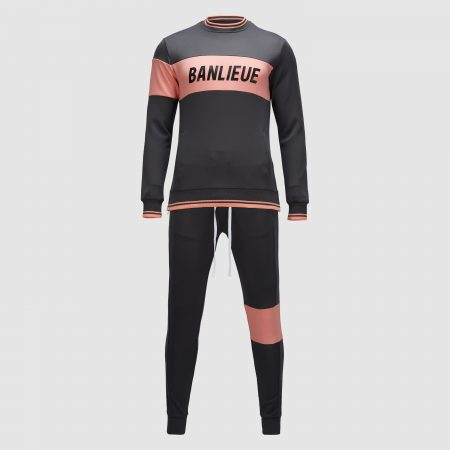 Banlieue Band Tracksuit Senior Dark Grey/Pink