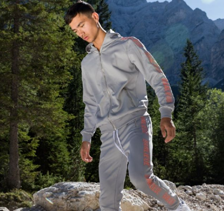Banlieue Full Zip Tracksuit Senior Grey/Pink