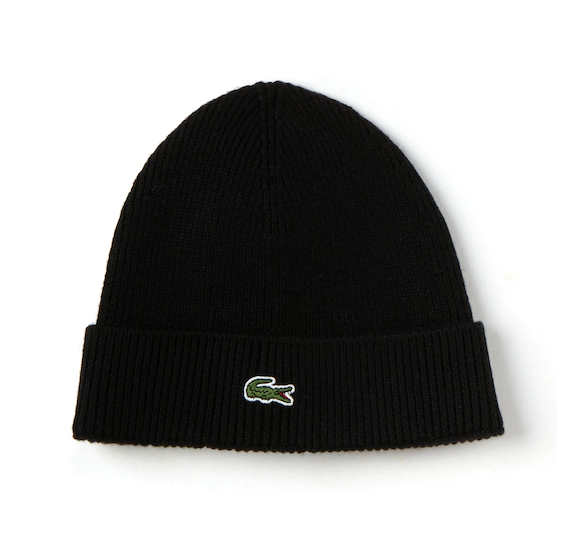 Lacoste Ribbed Wool Beanie Black