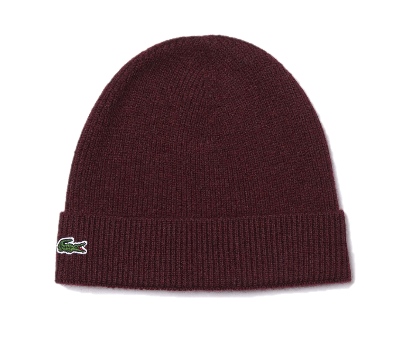 Lacoste Ribbed Wool Beanie Bordeaux