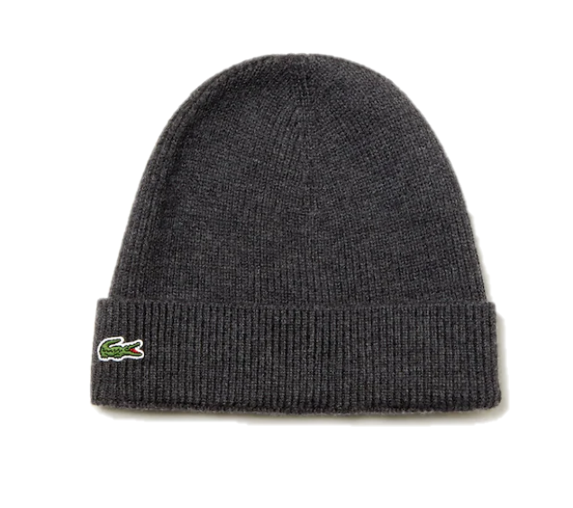 Lacoste Ribbed Wool Beanie Grey