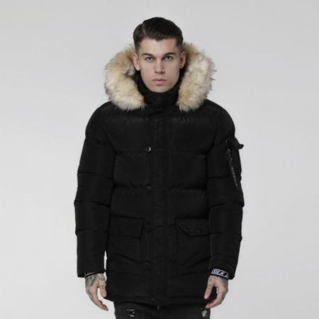 SikSilk Shiny Puff Parka Black