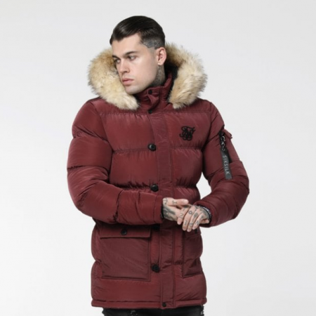 SikSilk Shiny Puff Parka Burgundy