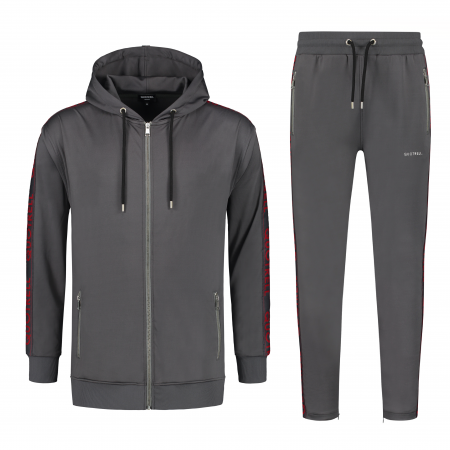 Quotrell Admiral Tracksuit Grey/Red Senior