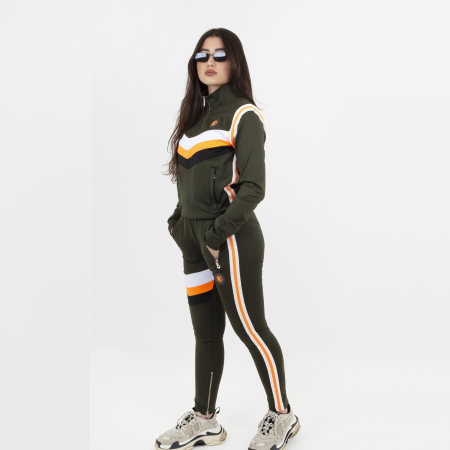 Ceasarss Quarter Zip Tracksuit Army/Orange
