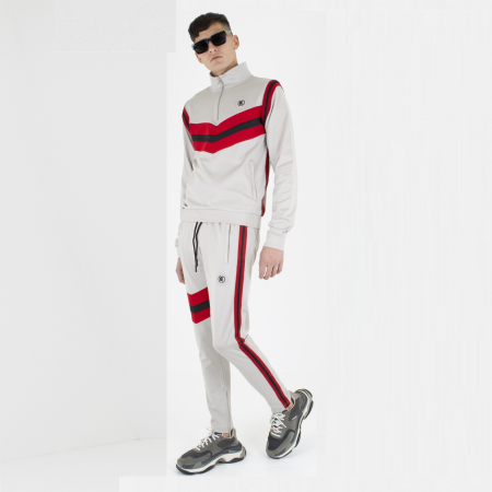 Ceasarss Quarter Zip Tracksuit Grey/Red