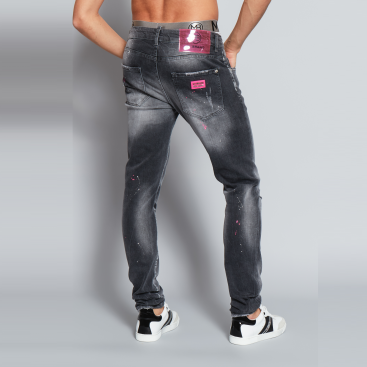 My Brand Grey Faded Pink Spot Jeans