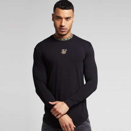 SikSilk Longsleeved Chain Tape Collar Gym Tee