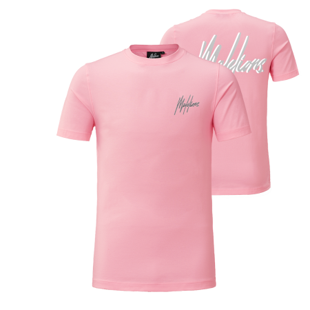 Malelions Signature 2.0 T-shirt Pink/Matt Grey