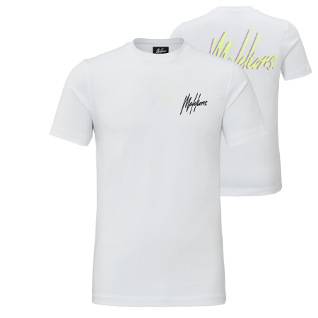 Malelions Signature 2.0 T-shirt White/Neon Yellow