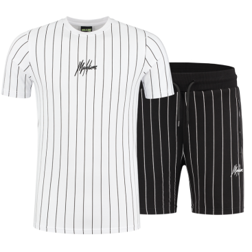 Malelions Sport Twinset Stripes White/Black