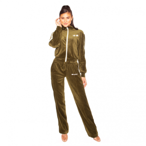 LA Sisters Velvet Flame Tracksuit Army