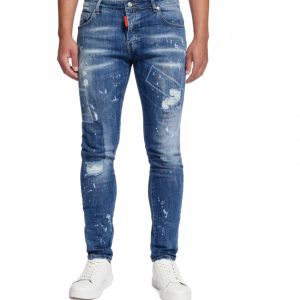 My-Brand-Bleached-Red-Spotted-Jeans-Denim-Blue